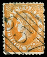 Lot 10046:1882-84 Wmk 2nd V/Crown Perf 12½ SG #212 3d yellow-orange, find '537' BN of Geelong West (1), Cat £28.