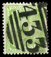 Lot 2078:1886-96 New Stamp Duty Designs Wmk 2nd V/Crown SG #319 9d apple-green, strong clear '433' BN of Dimboola, Cat £15.