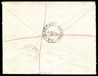 Lot 2704 [2 of 2]:Bacchus Marsh: - WWW #100 'BACCHUS MARSH/21OC35/VIC.' (arcs 2,3) on 2d red KGV & 3d Vic Centenary on cover to Melbourne with blue registration label. [Rated 2R]  Renamed from Ballan PO 1/7/1850.