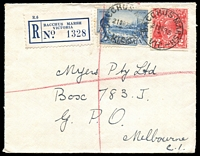 Lot 2704 [1 of 2]:Bacchus Marsh: - WWW #100 'BACCHUS MARSH/21OC35/VIC.' (arcs 2,3) on 2d red KGV & 3d Vic Centenary on cover to Melbourne with blue registration label. [Rated 2R]  Renamed from Ballan PO 1/7/1850.