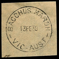 Lot 2142:Bacchus Marsh: - WWW #130A 'BACCHUS MARSH/13FE39/VIC-AUST' (arcs 2½,3 - ERD) on piece. [Rated 2R]  Renamed from Ballan PO 1/7/1850.