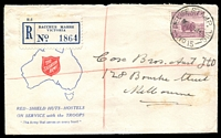 Lot 2156 [1 of 2]:Bacchus Marsh: - 'RELIEF STAMP. VIC./■■■19JE41/NO 15' on 5d Ram on Salvation Army cover with blue registration label. [Recorded used 14-19/6/1941]  Renamed from Ballan PO 1/7/1850.