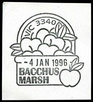 Lot 2290:Bacchus Marsh: - WWW #190 40x40mm pictorial 'VIC 3340/[apples]/4JAN1996/BACCHUS/MARSH' on piece.  Renamed from Ballan PO 1/7/1850.