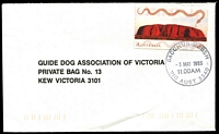 Lot 2291:Bacchus Marsh: - WWW #210 30mm 'BACCHUS MARSH/3MAY1993/11.00AM/VIC AUST 3340' on 45c on cover  Renamed from Ballan PO 1/7/1850.