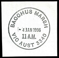 Lot 2708:Bacchus Marsh: - WWW #220 34mm 'BACCHUS MARSH/4JAN1996/11 A.M./VIC AUST 3340' on piece.  Renamed from Ballan PO 1/7/1850.