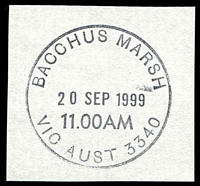 Lot 2146:Bacchus Marsh: - WWW #230 31mm 'BACCHUS MARSH/20SEP1999/11.00AM/VIC AUST 3340' on piece.  Renamed from Ballan PO 1/7/1850.