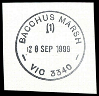 Lot 2710:Bacchus Marsh: - WWW #280 31mm 'BACCHUS MARSH/(1)/23JUL1990/VIC AUST 3340' (arcs 2½,2½ - LRD) on piece  Renamed from Ballan PO 1/7/1850.