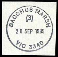 Lot 2150:Bacchus Marsh: - WWW #320 31mm 'BACCHUS MARSH/(3)/20SEP1999/VIC AUST 3340' (arcs 0,0) on piece. [Only recorded date.]  Renamed from Ballan PO 1/7/1850.
