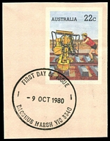 Lot 2153:Bacchus Marsh: - WWW #520 31½mm 'FIRST DAY OF ISSUE/9OCT1980/BACCHUS MARSH VIC 3430' (arcs 2½,2½ - LRD) on 22c cut-out. [Rare only used for a short time.]  Renamed from Ballan PO 1/7/1850.