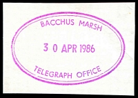 Lot 2155:Bacchus Marsh: - WWW #910 magenta double-circle 'BACCHUS MARSH/30APR1986/TELEGRAPH OFFICE' on piece. [Rated 4R - the only recorded date.]  Renamed from Ballan PO 1/7/1850.