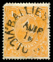 Lot 2300:Bailieston: - WWW #10 unframed 'BAILIES[TON]/AU16/16/VICTO[RIA]' (recut; originally inscribed 'BALLIESTON') on 1d orange KGV. [Rated 4R]  Renamed from Baillieston PO c.1915; closed 31/7/1957.
