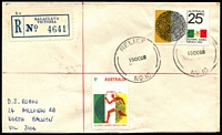 Lot 2734 [1 of 2]:Balaclava: - 'RELIEF/15OC68/NO.10.' on 5c & 25c Olympics on registered cover with blue label.  PO 5/7/1909.