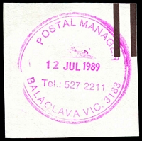 Lot 12620:Balaclava: WWW #510 magenta 34mm double-circle 'POSTAL MANAGER/12JUL1989/Tel.: 527 2211/BALACLAVA VIC. 3183' (ERD) on piece.  PO 5/7/1909.