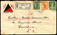 Lot 2179 [1 of 2]:Balcombe Mil. P.O. (1): - WWW #20 'MIL.P.O. BALCOMBE/11FE42/VIC-AUST' (arcs 1,1½) on 4d, 1½d & ½d on 17 MG/SERGEANTS' MESS illustrated cover (small faults) with blue registration label. [Rated 3R]  PO 1/6/1940; closed 7/6/1948.