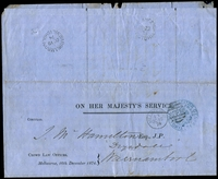 Lot 11901 [1 of 2]:Ballangeich: - WWW #10 21½mm unframed 'BALLANGEICH/DE22/74/VICTORIA' (ERD) on Solicitor General franked circular. [Rated 3R]  PO 1/11/1868; closed 30/9/1957.