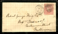 Lot 2187:Ballarat: - WWW #70 framed duplex 'BALLAARAT/H/NO11/63 - VICTORIA' (sic) on 4d Beaded Oval (faults) on cover to Melbourne, fine red '5A' backstamp. [Rated 3R]  PO 1/11/1851.