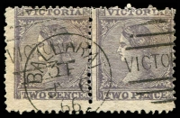 Lot 2200:Ballarat: - WWW #810 framed duplex 'BALLARAT/3F/JY6/66 - VICTO[RIA]' on 2d Laureate pair. [Rated 3R]  PO 1/11/1851.