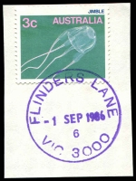 Lot 2489:Flinders Lane: - WWW #60A violet 'FLINDERS LANE/-1SEP1986/6/VIC 3000' (Opening Day) on 3c Jimble on piece. [Rated 2R]  Replaced Degraves Street PO 1/9/1986.