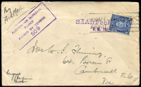 Lot 5320:1941 air cover to Camberwell, Vic. with '3dAirFeePaid' and 'H.M. TRANSPORT' on face both in violet. Unusually a 3d blue KGVI has later been applied and cancelled with a 'DON'T WRITE/ABOUT SHIPS' slogan, without datehead, purple boxed 'AUSTRALIAN IMPERIAL/FORCE/PASSED BY CENSOR/509' also on face. An usual rate marking. Presumably the ship ran out of stamp, used the '3dAirFeePaid' handstamp to indicate that the postage had been paid. And then used the 3d to pay for a stamp when they received new stocks.
