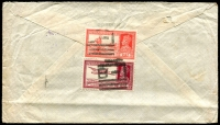Lot 839 [2 of 2]:1941 (Feb 20) cover with navel tombstone censor and violet 'H.M. AUSTRALIAN/SHIPS' on face, to Auburn, Vic, with India 12a & 2a on back, cancelled with 'B-1' of Bombay.