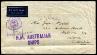 Lot 839 [1 of 2]:1941 (Feb 20) cover with navel tombstone censor and violet 'H.M. AUSTRALIAN/SHIPS' on face, to Auburn, Vic, with India 12a & 2a on back, cancelled with 'B-1' of Bombay.