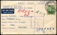 "Lot 840:1944 (Oct 13) airmail POW Post Card with 4d Koala, from Camberwell to Thailand, endorsed ""RTA"" (Returned to Australia?), ""RTA air 9.10/15.10/[initials]"" and ""SPEAKER"" all on face, purple diamond '3/PASSED/BY/CENSOR/143' also on face. The POW, Chaplain William I Fleming, appears to have been flown home before the transports and hospital ships arrived in Singapore to bring the POWs home."