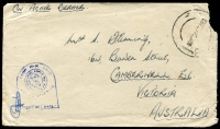 Lot 841:1944 (Oct) stampless cover with navel tombstone censor on face, to Camberwell, Vic, void d/s on face.