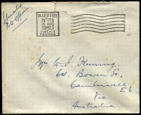 "Lot 842:1945 (Oct 15) stampless letter to Camberwell Vic, endorsed ""Liberated/POW Officer"", 'PASSED FREE/4-PM/15 OCT/1945/SURFACE/POSTAGE' machine cancel, small faults."