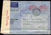Lot 804:1940 (May 18) inwards air cover to Melbourne from Switzerland via Chiasso, red on white censor reseal with three large dots (#L3-4a) at left, two 50c meter cancels.