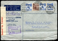 Lot 4617:1940 (Mar 14) inwards air cover to Melbourne from Switzerland via Chiasso, red on white one-sided censor reseal at left, 30c x3 & 10c stamps.