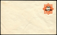 Lot 674:1923-24 'THREE/HALFPENCE' on 2d KGV Star BW #EP24 orange without 'POSTAGE' (EP21). minor hinge damage to flap, otherwise fresh unused, Cat $750.