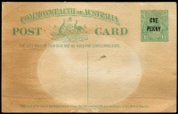 Lot 663:1923 'ONE/PENNY' On 1½d KGV Sideface Obsolete Stock BW #P60 1½d green (No P54), unused but light stained, Cat $300. Ovpt has broken O and damaged N in ONE and 1st N in PENNY