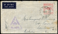 Lot 4892:A.I.F. Field P.O. 'A.I.F. FIELD P.O./13SE41/NO.17' (Segamat, Johore), on Straits Settlement U19 25c meter, on air cover to Camberwell Vic, with triangle 'PASSED BY CENSOR/[crown]/No. 2675' (A1) in purple, some light tones & wear to top edge. [Rated 200 by Proud]