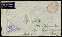Lot 847:A.I.F. Field P.O. 'A.I.F. FIELD P.O./17NO41/NO 18.' (Port Dickson), on double-circle 'POSTAGE PAID/25 CENTS/JOHORE' (A1) handstamp in red on air cover to Camberwell, Vic, with triangle 'PASSED BY CENSOR/[crown]/No. 2976' (A1-) in purple, few spots and edge creases. [Rated 150 by Proud]