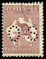 Lot 1032:2/- Maroon - BW #39j [2L45] perf 'OS' and CTO with Flaw on S of AUSTRALIA, Cat $200.