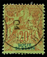 Lot 19397:1893 'GOLFE DE BENIN' SG #23, 20c red/green, light clear Ouidah cds, Cat £19.