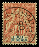 Lot 19398:1893 'GOLFE DE BENIN' SG #26, 40c red/yellow.