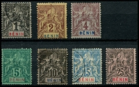 Lot 19400:1894 'BENIN' SG #33-8,40, 1c to 15c & 25c, 2c, 4c, 5c & 25c MNG, Cat £37. (7)