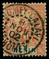 Lot 19402:1894 'BENIN' SG #42, 40c red/yellow, fine near complete Abomey-Calavi cds, Cat £19.