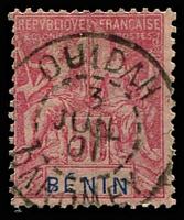 Lot 19403:1894 'BENIN' SG #43, 50c carmine/rose, fine Ouidah cds, Cat £25.