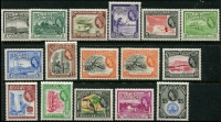 Lot 19563:1954-63 Pictorials SG #331-45, SG #331-45 complete set, $2 is DLR printing, includes ectra 24c, MUH, Cat £140+. (16)