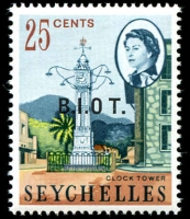 Lot 20445:1968 'B.I.O.T.' On Seychelles SG #5b 25c with No stop after O.