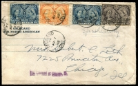 Lot 19912 [1 of 2]:1942 (Aug 17) late use of 1897 Jubilee 1c, 5c x2 & 8c on Special Delivery cover from Midland (Ontario) to USA, Chicago backstamps.