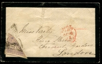 Lot 3438:1855-63 Triangles Perkins Bacon Printing SG #7 6d rose-lilac on 1862 cover to London, poor copy with indistinct pmks, Cat £900+.