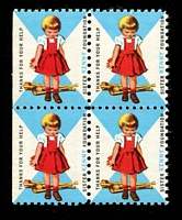 Lot 20:USA - Sister Kenny Foundation: 'girl with crutches on floor' block of 4.