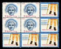 Lot 21:USA - Sister Kenny Foundation: block of 9 with Sister Kenny x4 and 'boy's legs and crutches' x5.
