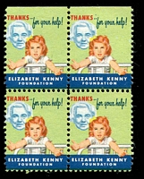 Lot 23:USA - Sister Kenny Foundation: 'girl at foot of bed' block of 4.