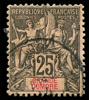 Lot 21276:1897 'GRAND COMORE' SG #8,25c black/rose, Cat £14.