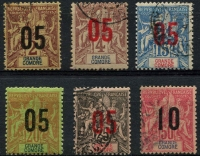 Lot 21230:1912 Surcharges Narrow Setting SG #20A-24A,28A, '05' on 2c, 4c, 15c, 20c (mint) & 25c and '10' on 50c. (6)