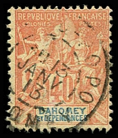 Lot 21119:1899-1905 'DAHOMEY ET DEPENDANCES' SG #11, 40c red/yellow, Cat £15.